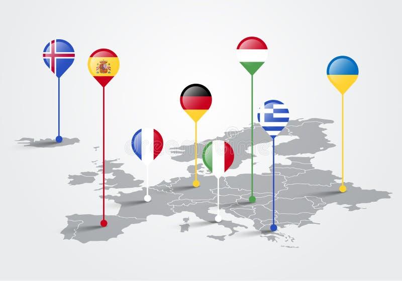 De vectorkaart van Illustratieeuropa infographic voor diapresentatie Globaal bedrijfs marketing concept royalty-vrije illustratie