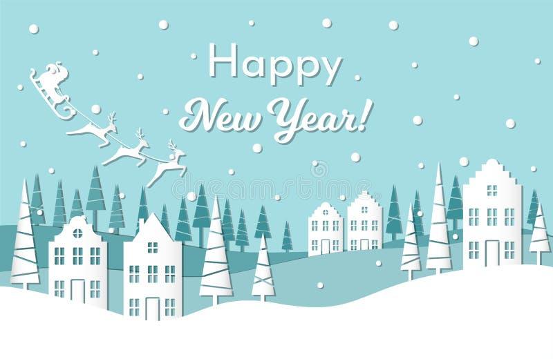 De vectorkaart van de illustratiegroet voor de wintervakantie Santa Claus met rendieren en ar op nachthemel Gelukkig Nieuwjaar royalty-vrije illustratie