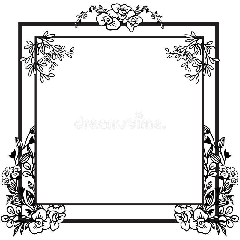 De vectorkaart van de illustratieuitnodiging voor zeer mooie bloemenkaders vector illustratie