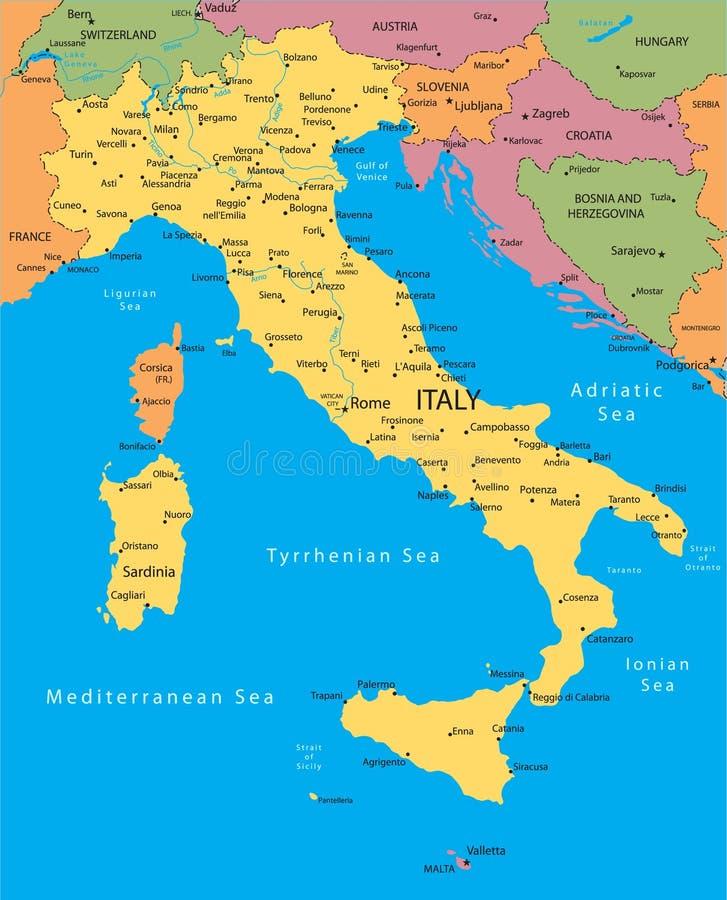 De vectorkaart van Italië stock illustratie