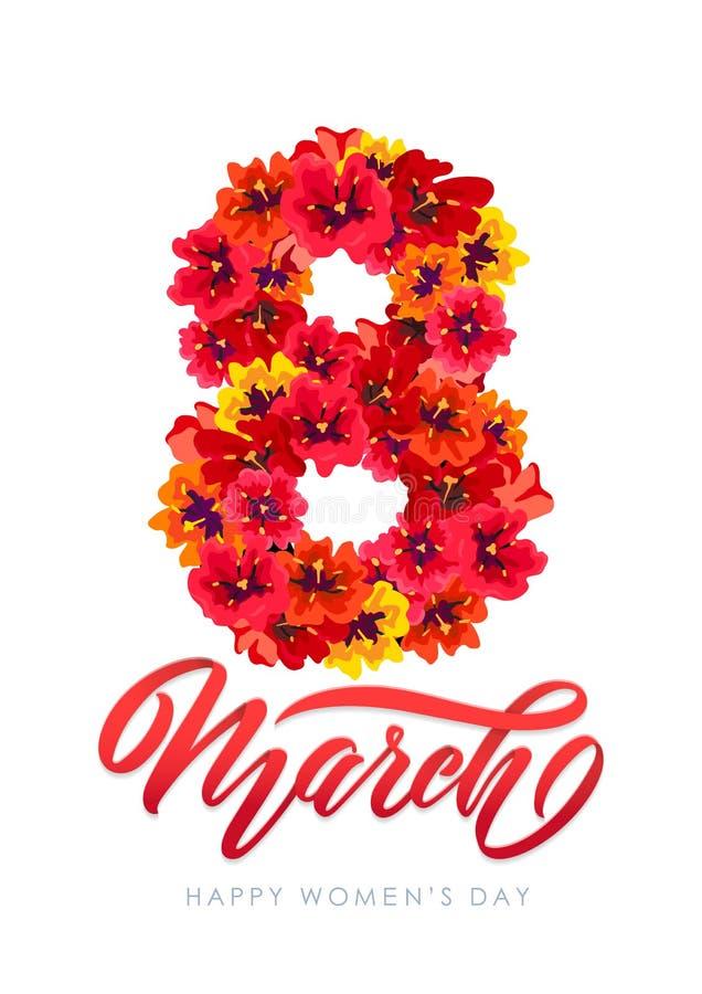 De vectorkaart van de malplaatjegroet 8 maart Decor van de rode lente bloeit Vrouwen van de Kalligrafie de Dag van de van letters stock foto's