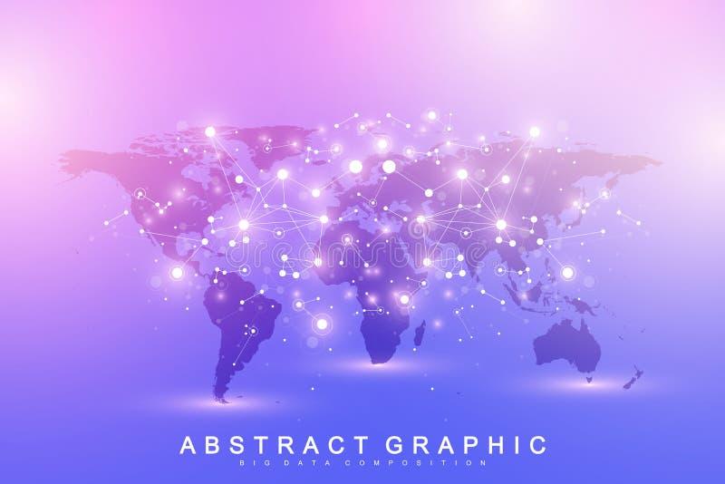 De vectorkaart van de malplaatjewereld met het globale concept van het technologievoorzien van een netwerk Globale Netwerkverbind stock illustratie