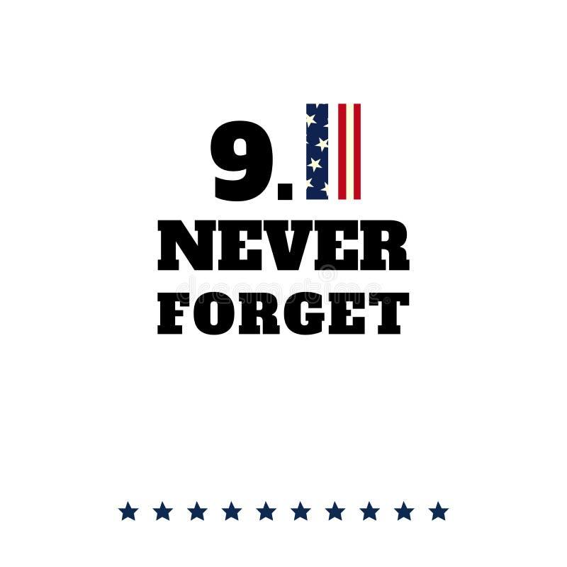 De vectorkaart van de patriotdag Vergeet 11 nooit September royalty-vrije illustratie