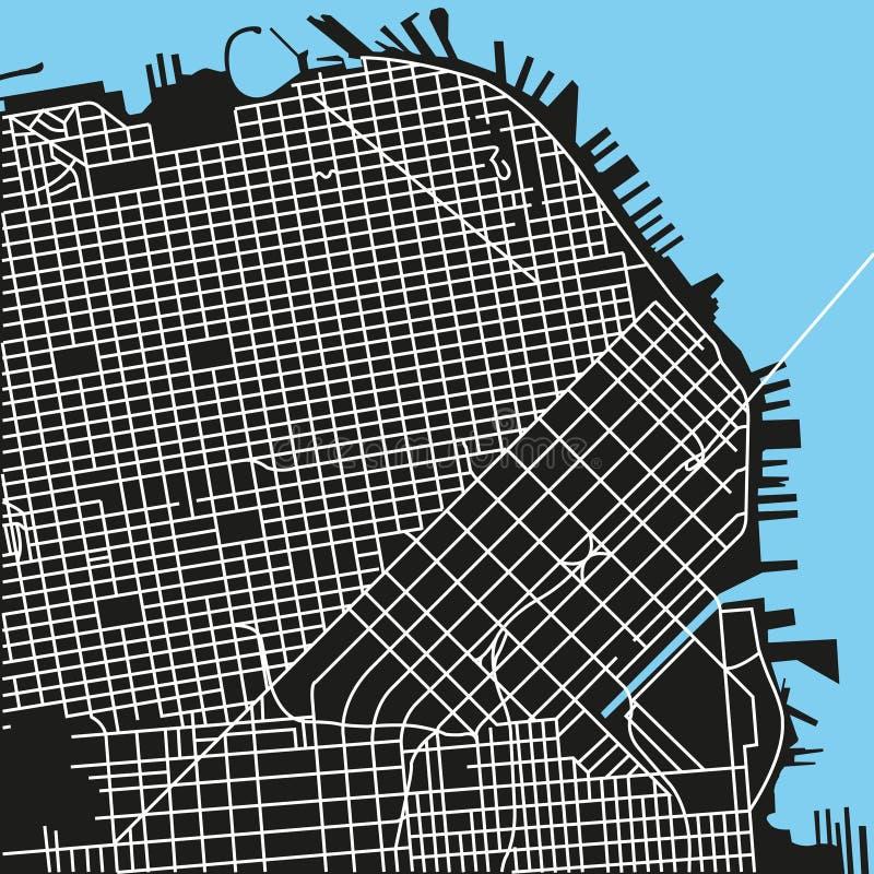 De vectorkaart van San Francisco royalty-vrije illustratie