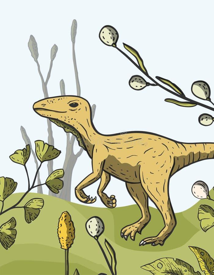 De vectorkaart van de Theropoddinosaurus stock illustratie