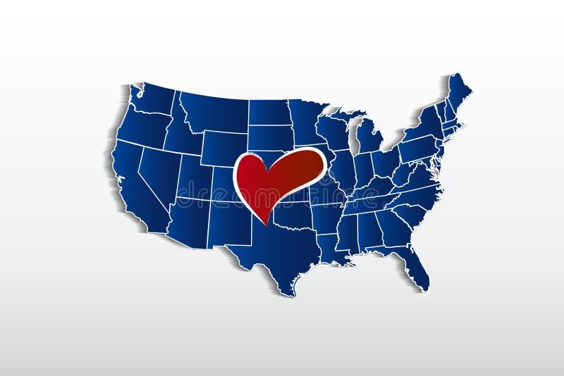 De vectorkaart van de V.S. en het beeld van het het embleempictogram van het liefdehart royalty-vrije illustratie