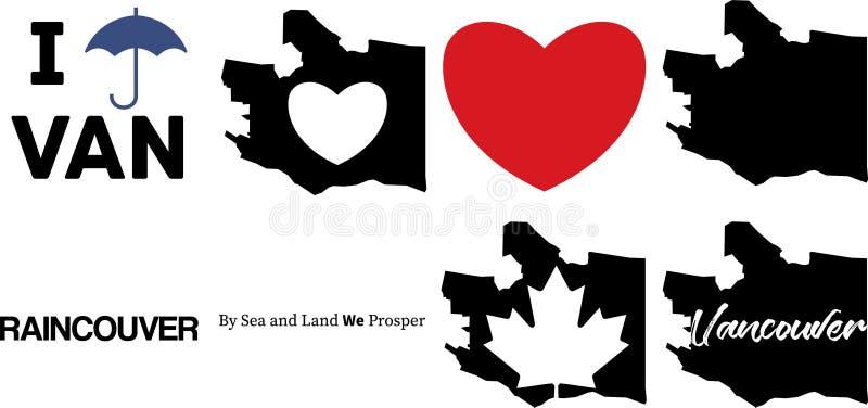De vectorkaart van Vancouver Canada en het symbool van het esdoornblad stock illustratie