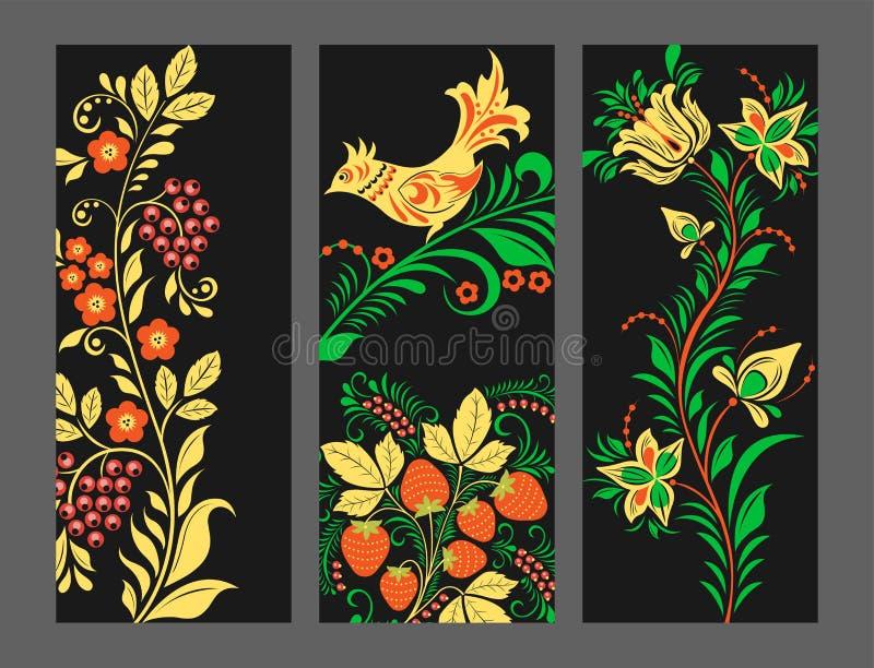 De vectorkaarten van het khokhlomapatroon ontwerpen traditionele Rusland getrokken illustratie etnische ornament het schilderen i vector illustratie
