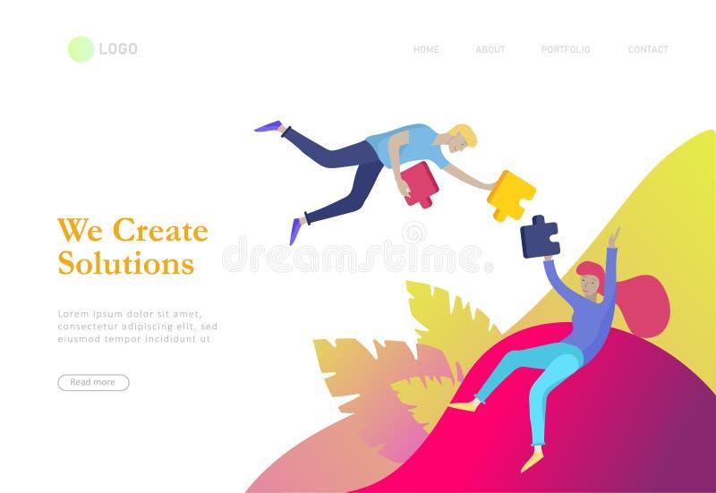 De vectorkarakter bedrijfsmensen met infographic van raadsel hebben oplossing Doel het denken Samenwerking door groep om een team vector illustratie