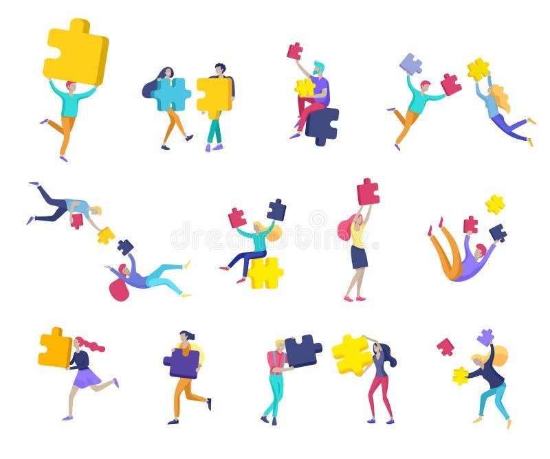 De vectorkarakter bedrijfsmensen met infographic van raadsel hebben oplossing Doel het denken Samenwerking door te creëren groep vector illustratie