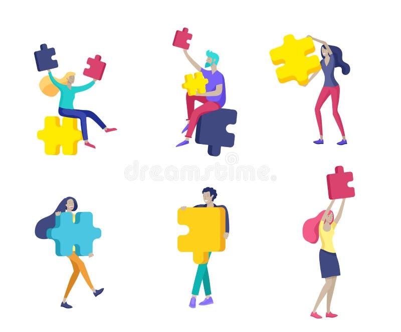 De vectorkarakter bedrijfsmensen met infographic van raadsel hebben oplossing Doel het denken Samenwerking door te cre?ren groep royalty-vrije illustratie