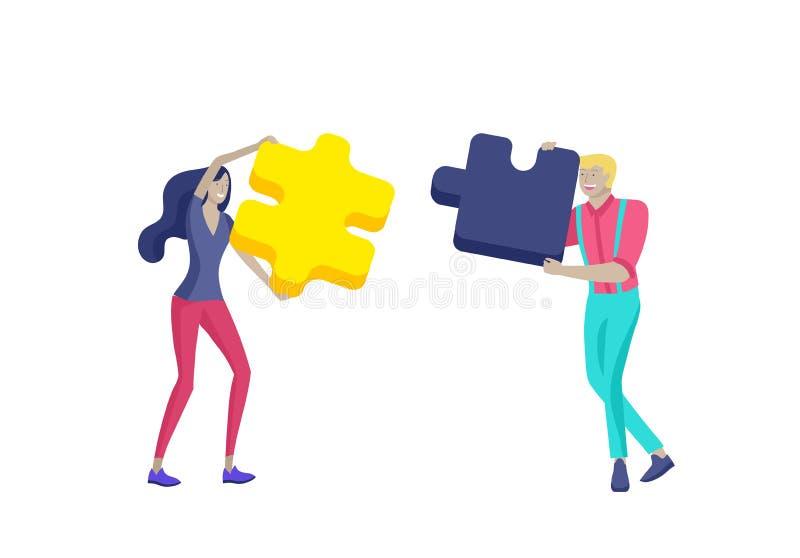 De vectorkarakter bedrijfsmensen met infographic van raadsel hebben oplossing Doel het denken Samenwerking door te cre?ren groep vector illustratie