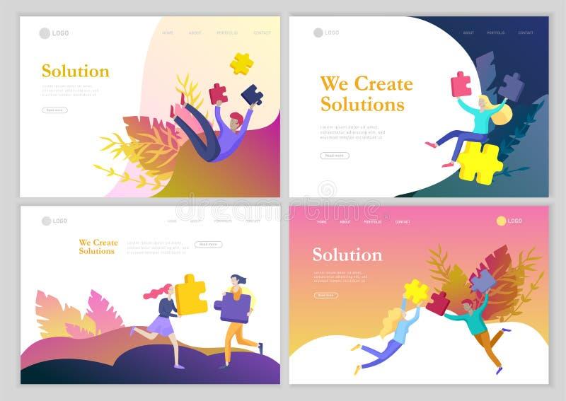De vectorkarakter bedrijfsmensen met infographic van raadsel hebben oplossing Doel het denken Samenwerking door te cre?ren groep stock illustratie