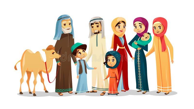 De vectorkarakters van de beeldverhaal Arabische familie, kameelreeks stock illustratie