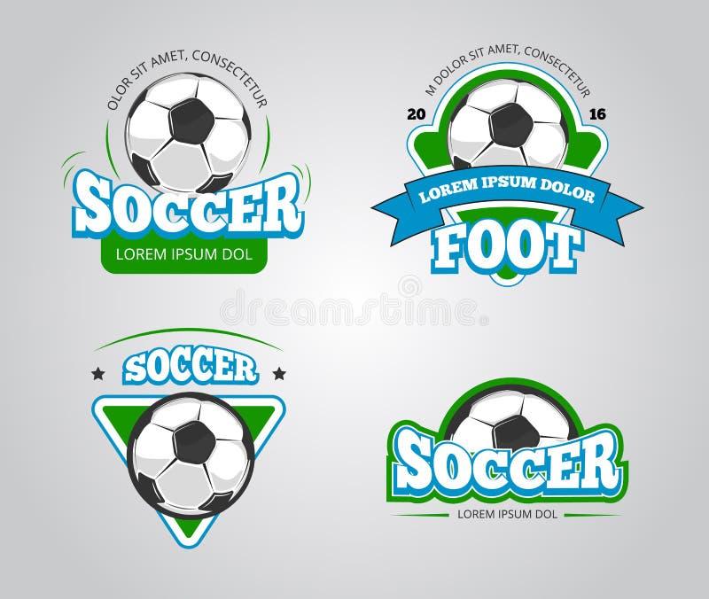 De vectorkentekens van de voetbalvoetbal, emblemen, de malplaatjes van het t-shirtontwerp royalty-vrije illustratie