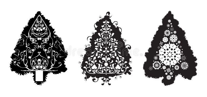 De vectorKerstbomen van Grunge stock illustratie