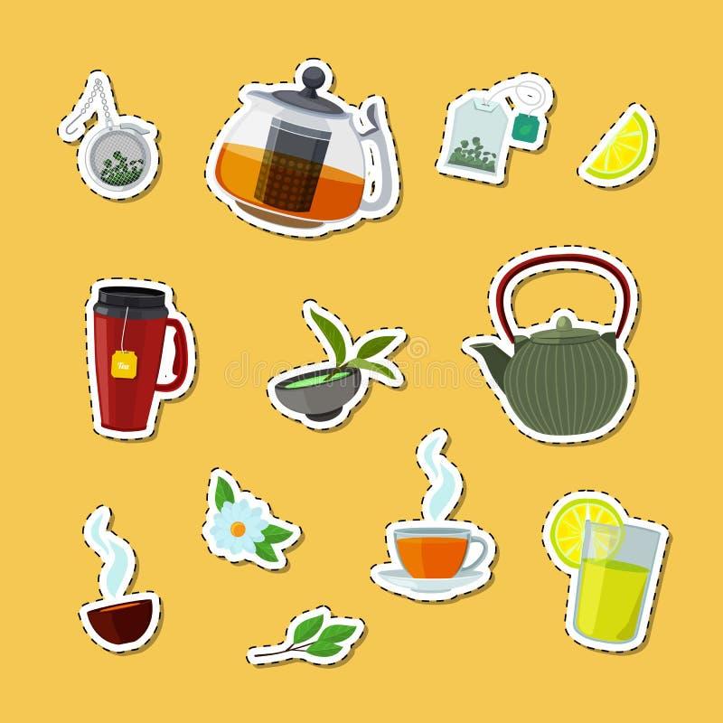 De vectorketels van de beeldverhaalthee en koppenstickers geplaatst illustratie stock illustratie