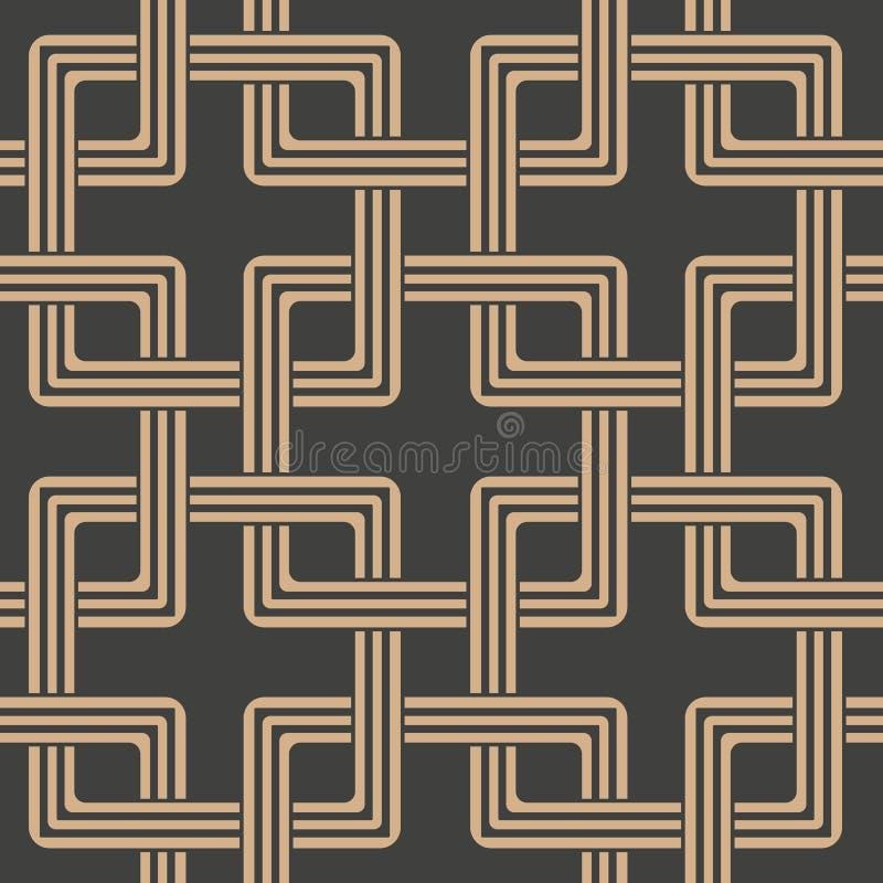 De vectorketen van het van het achtergrond damast naadloze retro patroon oosterse vierkante meetkunde dwarskader Het elegante ont vector illustratie