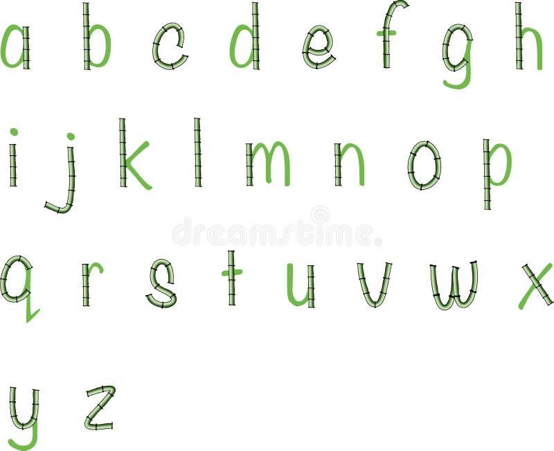 De vectorkleine letters a van de bamboe vectortekening aan z-ontwerp vector illustratie