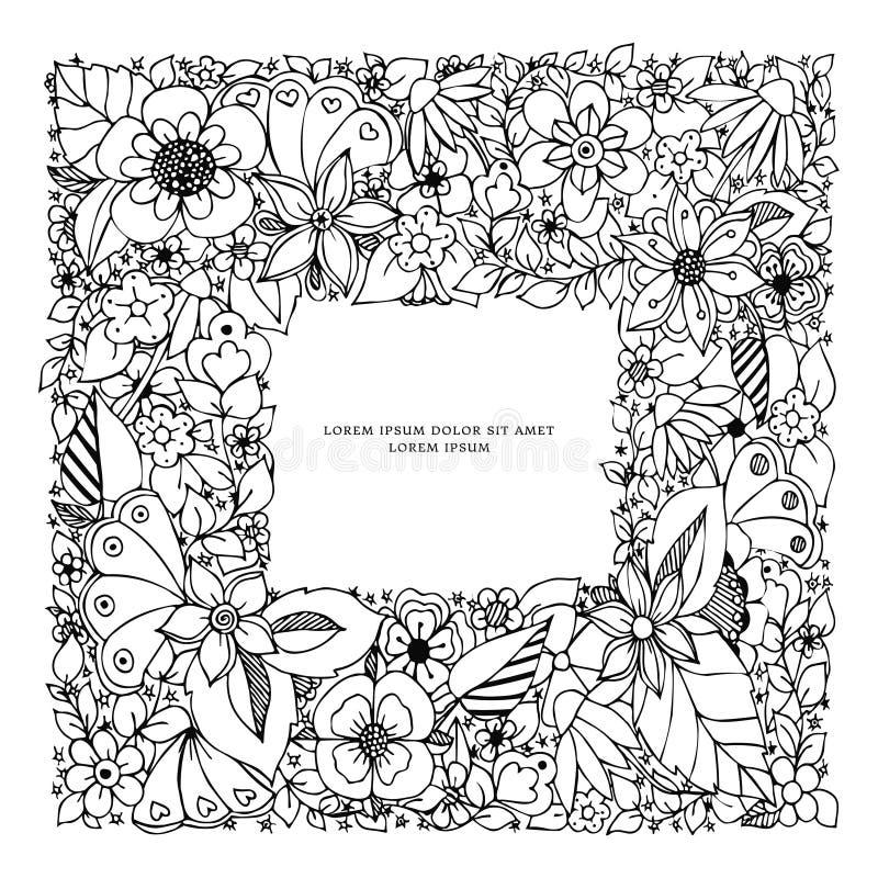 De vectorkleuren van het illustratie zentangl vierkante kader Krabbel, zenart, het dudling, krabbelkunst, de lente, bloei, de zom stock illustratie