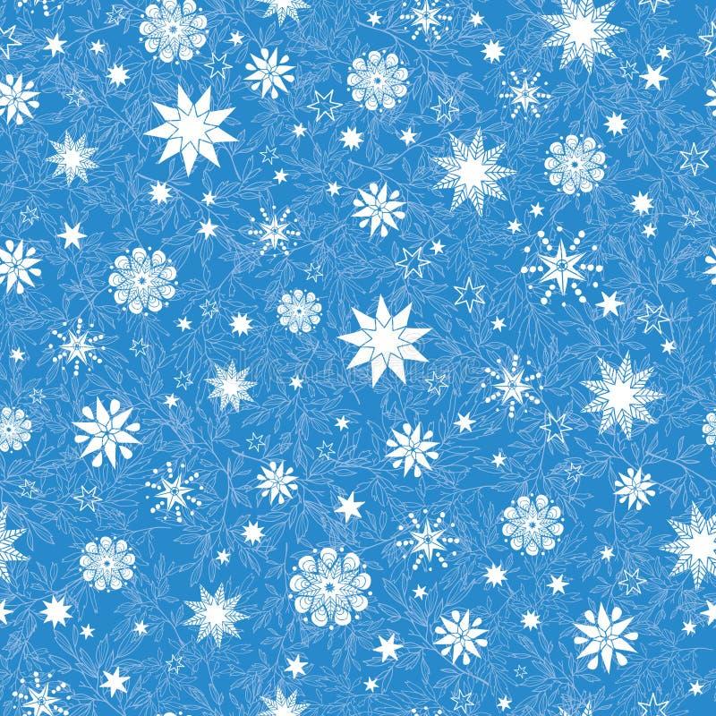 De vectorkoningsblauwen overhandigen getrokken christmass sneeuwvlokkensterren herhalen naadloze patroonachtergrond Kan voor Stof royalty-vrije illustratie