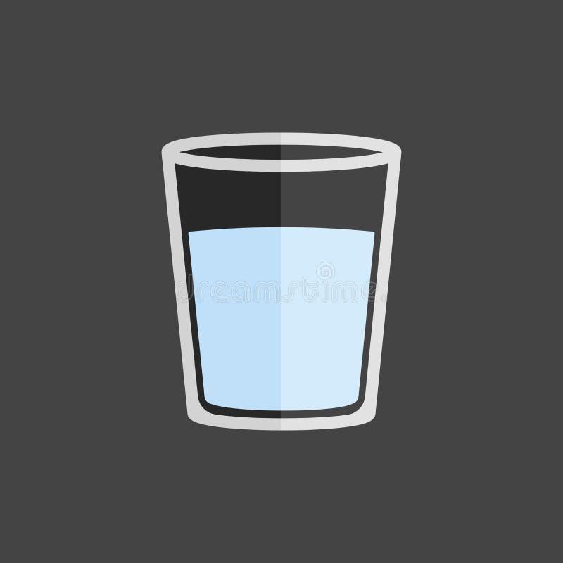 De vectorkop van het pictogramglas met water Glas met een drank stock illustratie