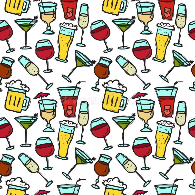 De vectorkrabbel drinkt naadloos patroon Dranken heldere achtergrond vector illustratie