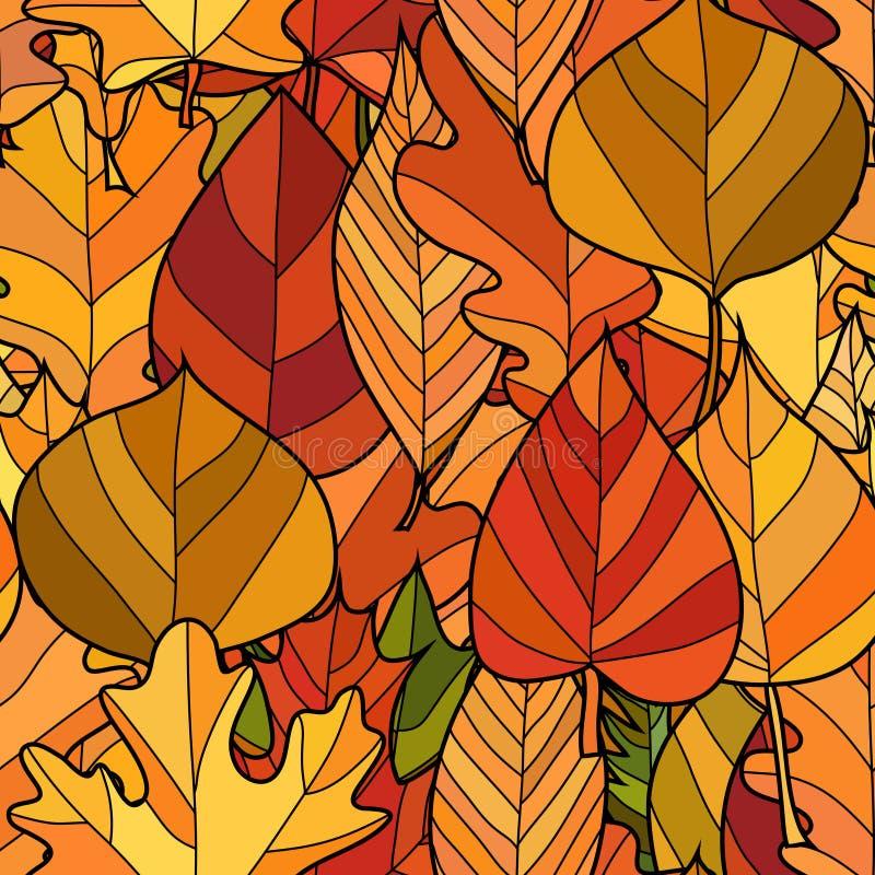 De vectorkrabbelherfst verlaat naadloos patroon stock afbeelding
