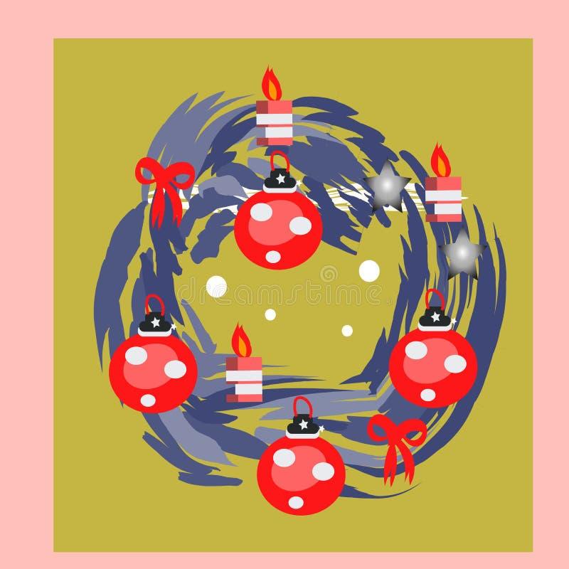 De vectorkroon van de Kerstmisspar met Slinger voor Nieuwjaarskaart stock illustratie