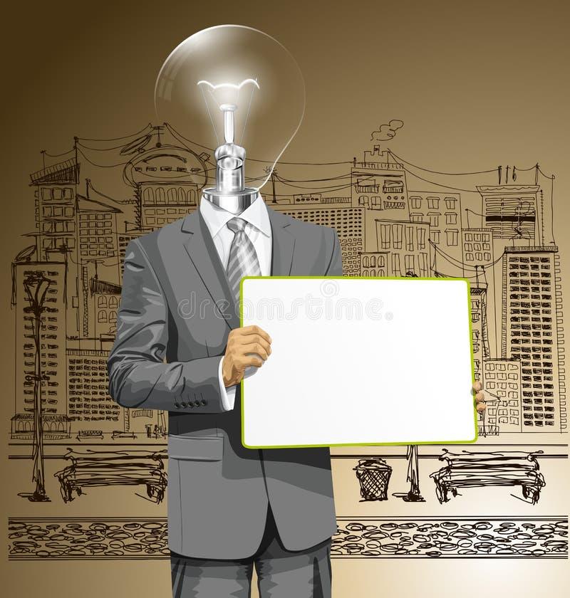 De vectorlamp Hoofd Bedrijfsmens met Leeg schrijft Raad stock illustratie