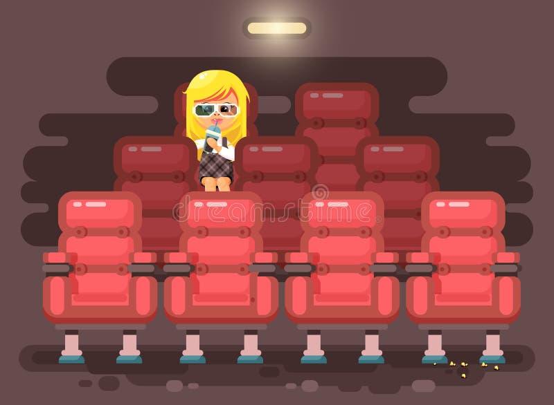 De vectorleerling van het het karakterkind van het illustratiebeeldverhaal, schoolmeisje, eenzaam blondemeisje zit in leunstoel,  vector illustratie
