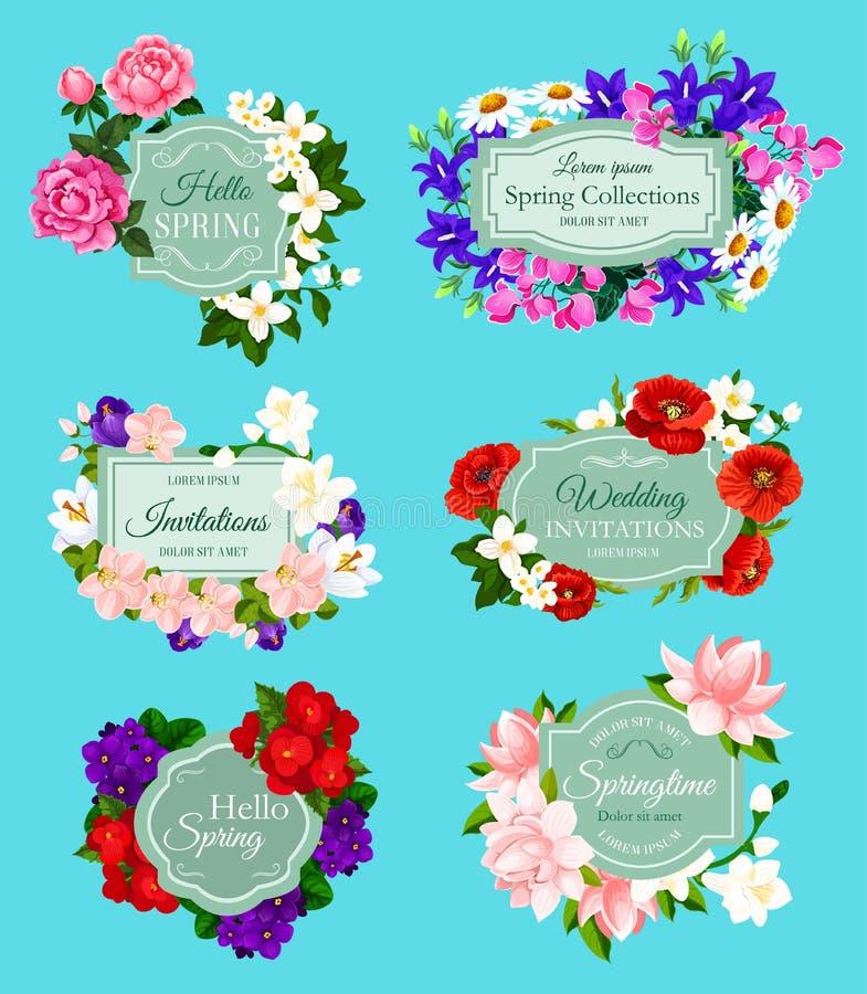 De vectorlente bloeit de uitnodigingen van het boekettenhuwelijk stock illustratie