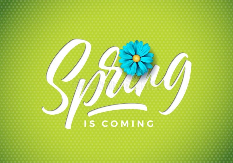 De vectorlente is komende illustratie met mooie blauwe bloem op verse groene achtergrond Bloemenontwerpmalplaatje met royalty-vrije illustratie