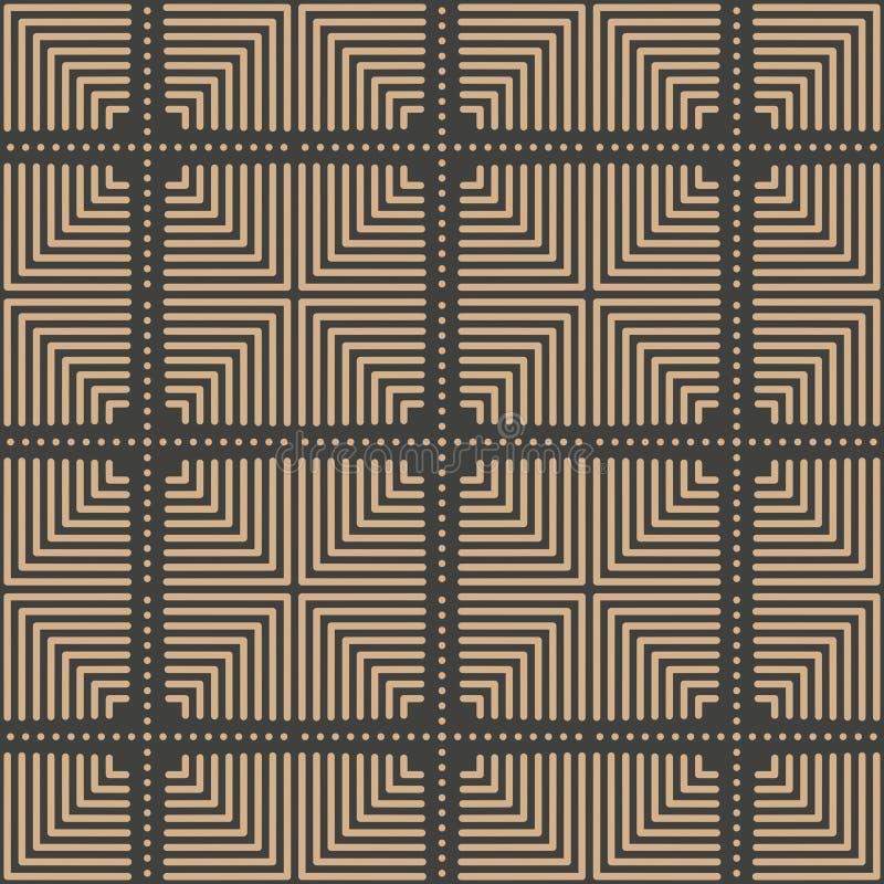 De vectorlijn van het van het achtergrond damast naadloze retro patroon vierkante meetkunde dwarskader Het elegante ontwerp van d vector illustratie