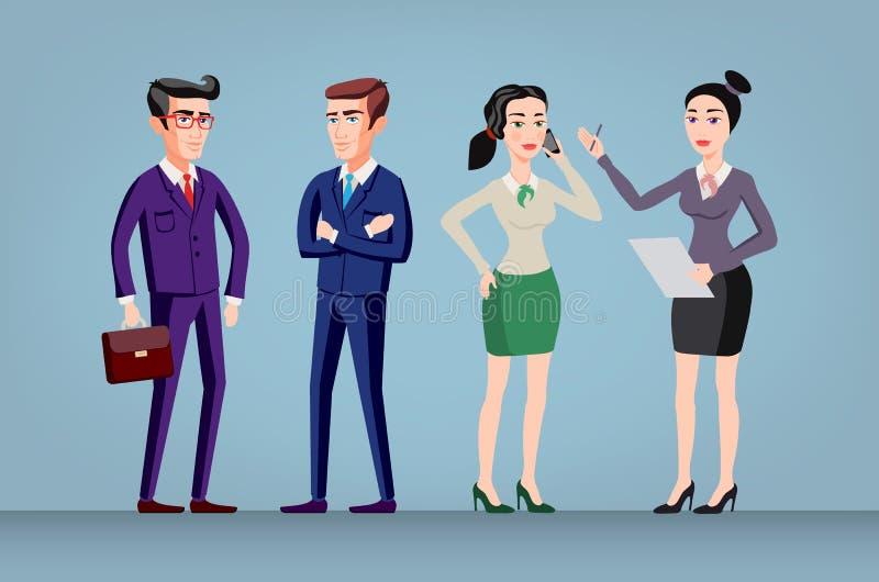 De vectormannen en de vrouwen in bureau dragen volledige geïsoleerde lengte, vector illustratie