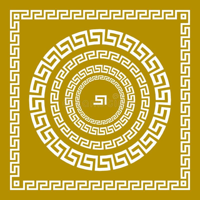 De vectormeander van het reeks Traditionele uitstekende gouden vierkante en ronde Griekse ornament en bloemenpatroon op een zwart royalty-vrije illustratie