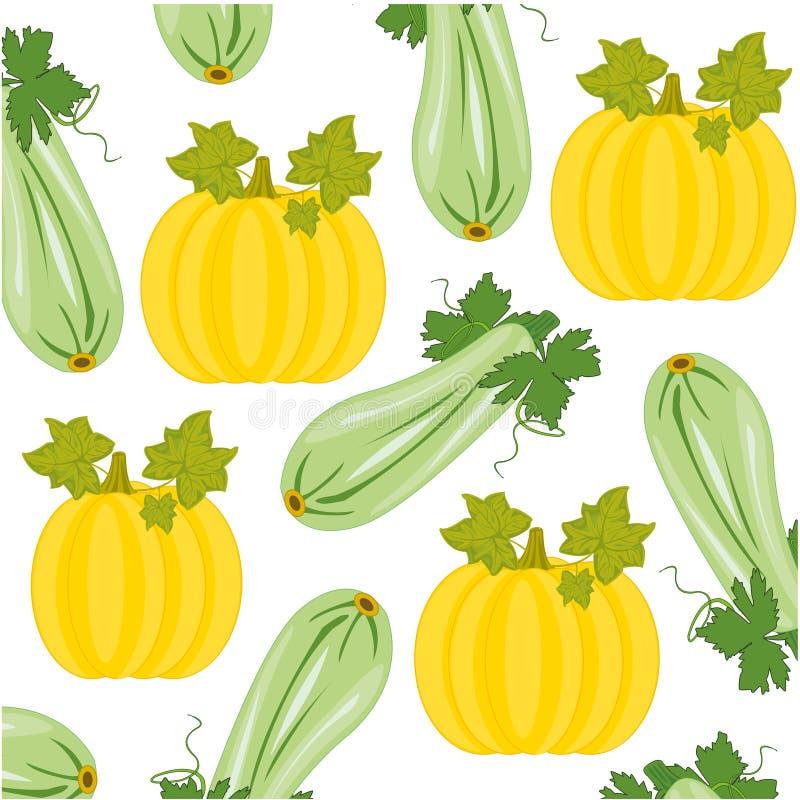 De vectormeloen van illustratiegroenten en merg decoratief patroon vector illustratie