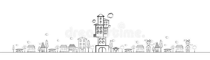de vectormening van de tekenings denkbeeldige oude stad scape stock illustratie