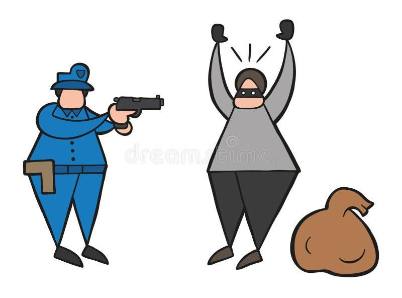 De vectormens van de beeldverhaaldief met gemaskeerd gezicht werd gevangen door politie stock illustratie
