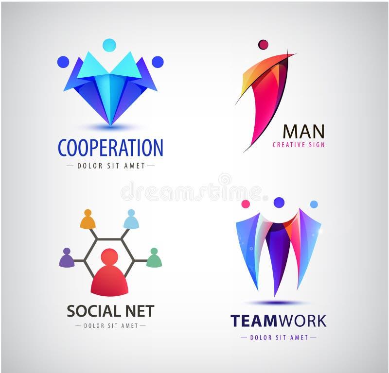 De vectormensen groeperen embleem, mens, familie, groepswerk, sociale netto, leiderspictogram Gemeenschap, mensenteken in moderne vector illustratie