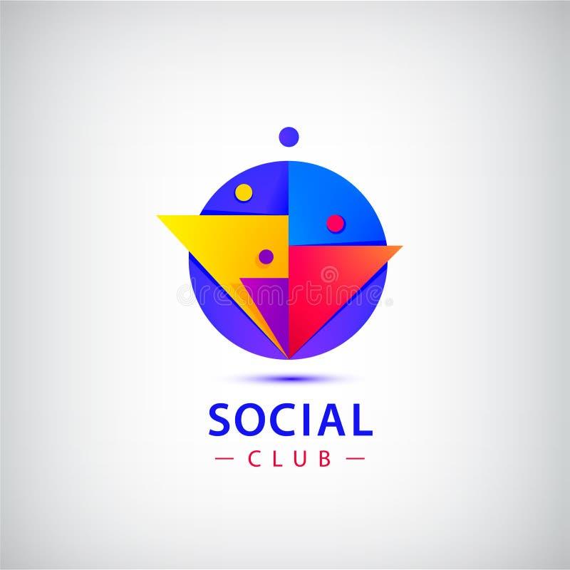 De vectormensen groeperen embleem Sociale netto, club, vergadering, groepswerk, samenwerking vector illustratie