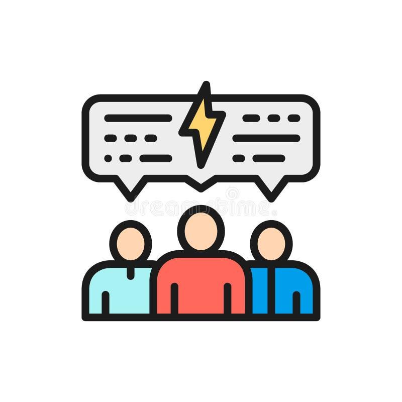 De vectormensen met toespraak borrelen, bespreking, communicatie vlak rassenbarrièrepictogram stock illustratie