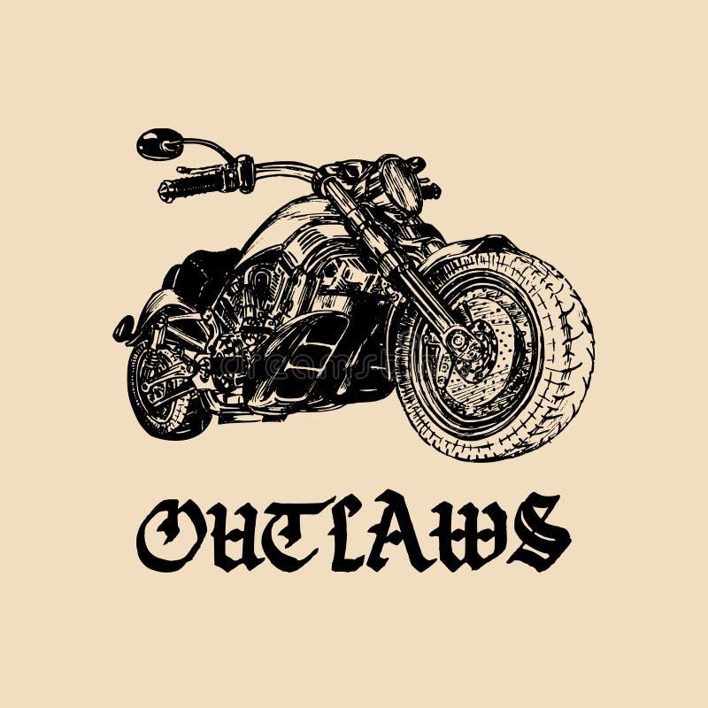 De vectormotorfietsschets met het gotische met de hand geschreven van letters voorzien verbant Uitstekende affiche met douanebijl vector illustratie