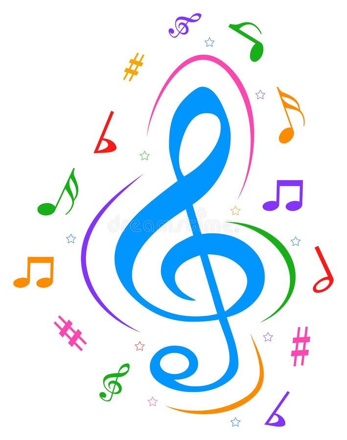 De vectormuziek neemt nota van kleurrijk embleem stock illustratie