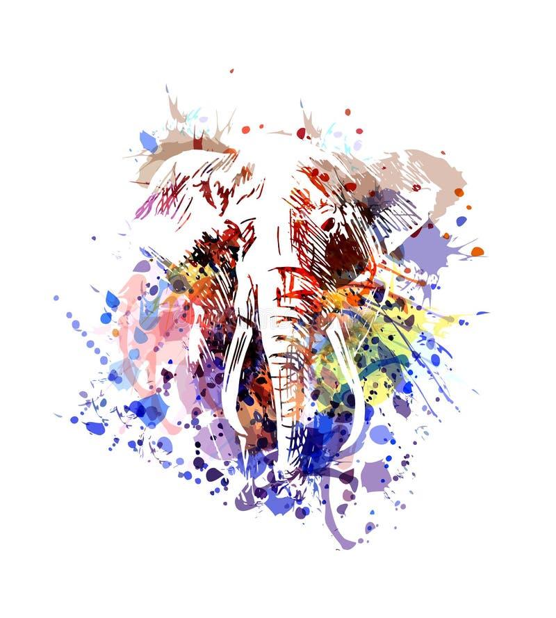 De vectorolifant van de kleurenillustratie vector illustratie