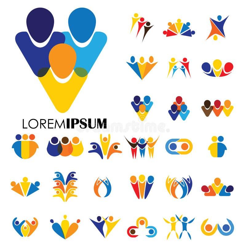 De vectorontwerpen van het embleempictogram van mensen, kinderen, vriendschap vector illustratie
