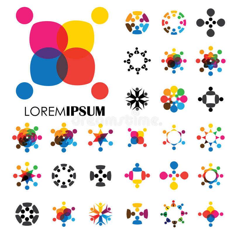 De vectorontwerpen van het embleempictogram van mensen, kinderen, vriendschap royalty-vrije illustratie
