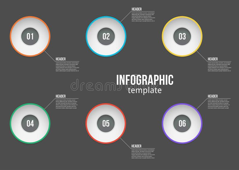 De vectorontwerpsjabloon van illustratieinfographic met opties of stappen Voor proces, presentaties, lay-out, banner, informatie vector illustratie