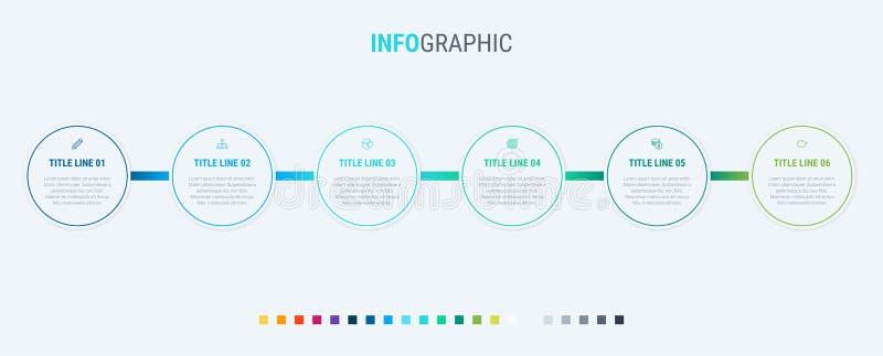 De vectorontwerpsjabloon van de infographicschronologie met cirkelelementen Inhoud, programma, chronologie, diagram, werkschema,  stock illustratie