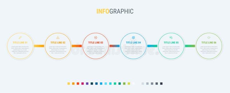 De vectorontwerpsjabloon van de infographicschronologie met rond gemaakte elementen Inhoud, programma, chronologie, diagram, werk vector illustratie